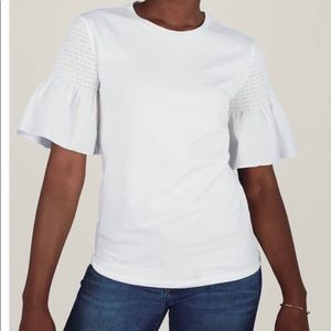 White Top with Flutter Sleeves
